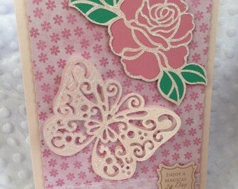 A5 size butterfly and rose card