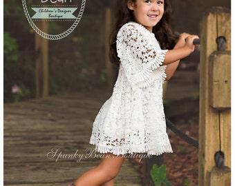 Rustic Flower Girl Dress, Lace Crochet Baby Girl Dress, Long (3/4) Sleeve Vintage Dress, Cowgirl Country, Winter Rustic, Boho Burlap Barn