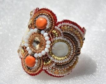 "Seed bead cuff bracelet "" Summer sun"""