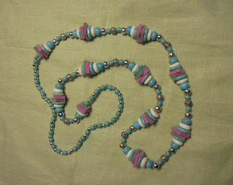 Howlite Turquoise,India Silver and Felt Necklace