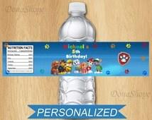 PAW Patrol Water Bottle Label, Personalized, Digital File
