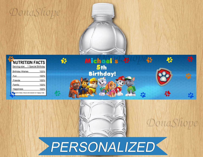 Paw Patrol Water Bottle Label Personalized Digital By