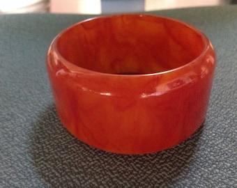 Vintage end of day Bakelite bracelet red/orange color