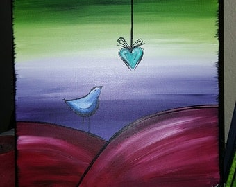 Hanging Heart Painted on Canvas