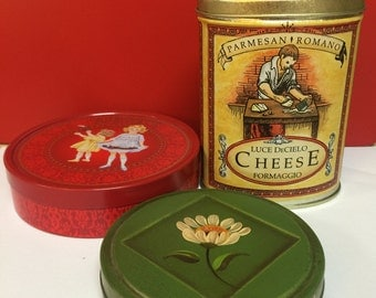 Vintage tin boxes and Parmesan Shaker, Set of Three Tins for You