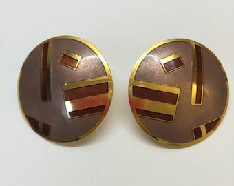 Samuel Huang Enamel Mauve Bordeaux and Gold Tone Earrings