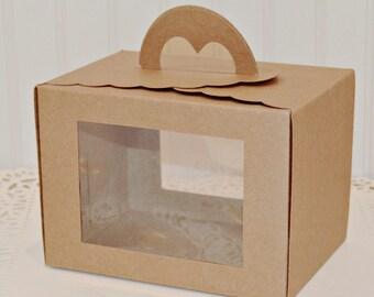 Kraft Window Favor Box with Handle, Cupcake Box, Rustic Wedding Cake Box, Pastry Box, Baked Good Packaging, Wedding Goodie Box, Picnic Box