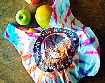 Reuseable grocery bag/ ecofriendly market bag/ beach or gym bag/ shopping tote bag/ upcycled tshirt / tie dyed tote/ haha this a-way/ clown