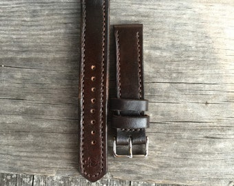 Brown Leather Watch Strap With Tang Buckle