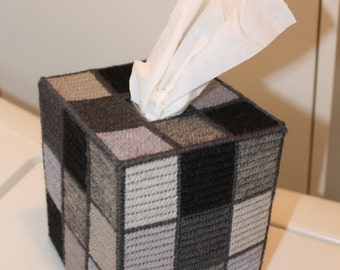 Tapestry Greyscale Rubik's Cube Tissue Box - Unique OOAK