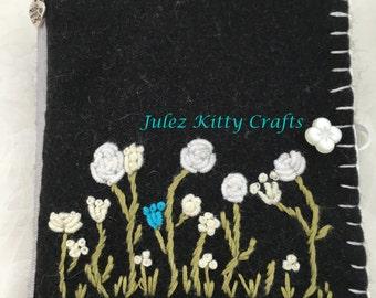 Black & White Embroidered Needlecase. Handcrafted Embroidered Needlebook. Hand Embroidery. Needle minder. Vintage Inspired NeedleBook. Gift
