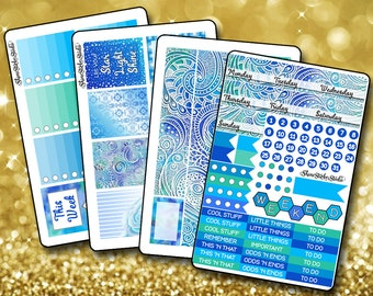 Gorgeous Blue Weekly Sticker Kit EC - Vertical Planner Stickers Erin Condren Life Planner ECLP Stickers Blue Planner Stickers