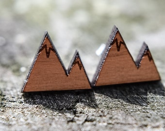 Laser cut Mountains on Cherry Wood