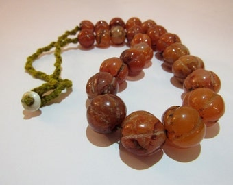 Carved carnelian beaded necklace