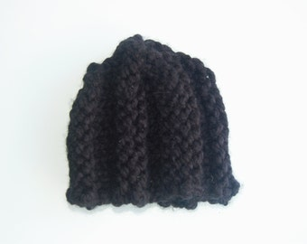 BASIC BEANIE handknitted black wool