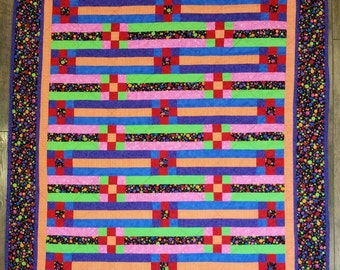 Colorful Quilt, Throw Quilt, Baby Quilt, minky back