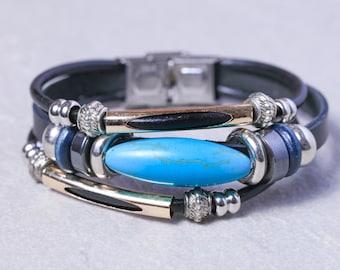 Leather turquoise bead bracelet-June Born Birthstone-Unisex cuff bracelet- Oval turquoise stone bracelet LO6