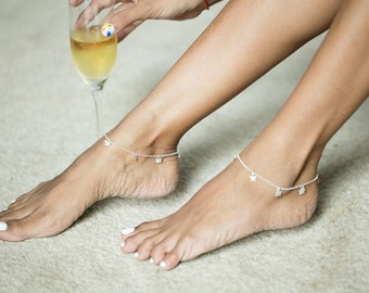 Silver Anklets, Silver Butterfly Charm Anklet,Sterling Silver Anklet, Anklet Chain, (AS 39)