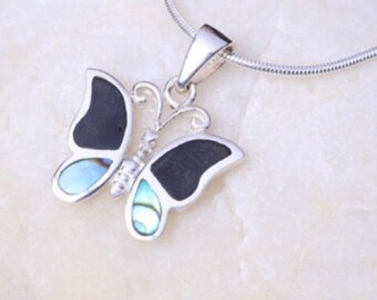 Silver onyx and opal pendant, Sterling Silver chain, Silver butterfly  pendant,  silver necklace, 925 silver, Boho jewelry (P1/1)