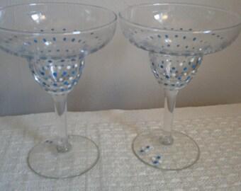 Hand Painted Margarita Glasses, Festive Dots. Set of 2