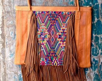 SALE! Handmade leather bag  》bohemian leather tote  》leather tote  》handmade leather bag  》shoulder bag  》embroidery bag  》
