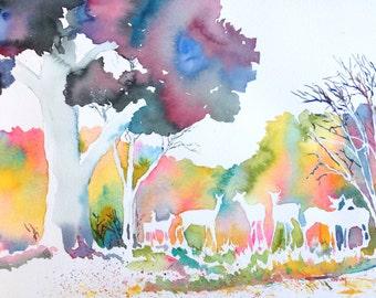 At the edge of the woods - original watercolor art
