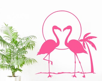 Flamingos at Sunset Tropical Island with Palm Tree Wall Sticker Art Vinyl Decal Transfer - by Rubybloom Designs