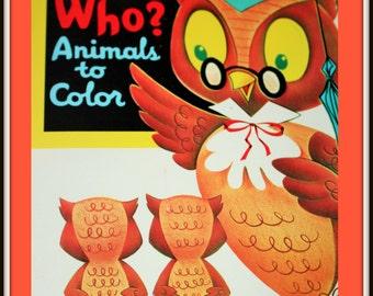 Vintage Book Page - Nursery Owl Print - Frameable Book Page - Vintage coloring book cover - Nursery Art