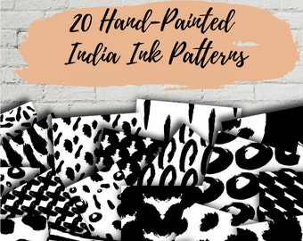 Set of 20 Hand-Painted India Ink Patterns - Digital Backgrounds - Digital Paper - Black and White Backgrounds -