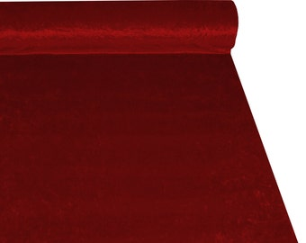 Ruby Red Crushed Velvet High Quality Fabric Material Sold By The Metre