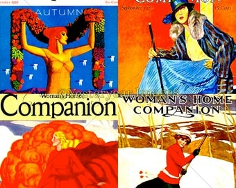 Vintage WOMAN'S HOME Companion Magazine Covers - Digital Images - Collage Sheets - Instant Download - 3 PNG Files 4x4 - 2x2 - 1x1