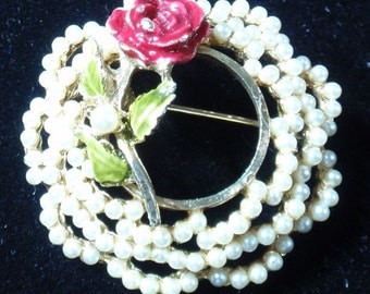 Seed Pearl and Enamled Rose Wreath Brooch
