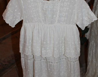 Vintage / Antique Girls Dress Cotton white lace Victorian / Edwardian Vintage # 2