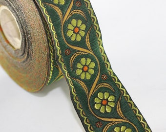 22 mm Green Floral Embroidered ribbon (0.86 inches) -  Vintage Jacquard - Floral ribbon - Floral trim - woven jacquard - jacquard ribbons