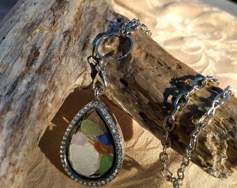Sea Glass Locket Necklace - Silver, Teardrop