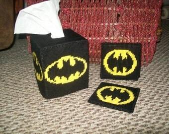 Batman Kleenex Box Cover/ Coaster Set