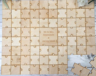 Wedding/Engagement/Anniversary Wood Puzzle Piece Guestbook Choice of Size