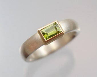 Ring silver & 900 / - gold baguette Peridot green unique forged master work