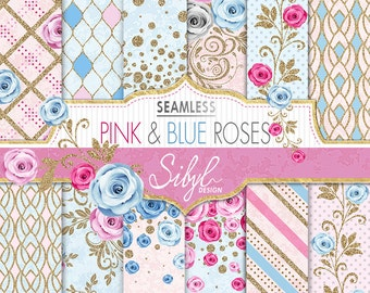 60% OFF SALE, Seamless Floral Digital Paper, Pink and Blue Roses Pattern, Digital Wedding Paper, Pink and Blue Flower, Glitter Background