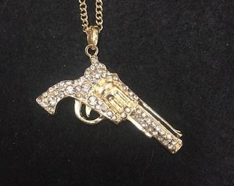 Pistol Necklace with rhinestones