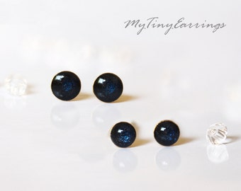 2 Pairs of Dark Navy Blue 4mm and 3mm Tiny Stud  Earrings Round Epoxy Resin Mini Gift for Her Gift for Him Gold Plated Stainless Steel Posts
