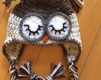 Crochet Sleepy owl Hat with Earflaps