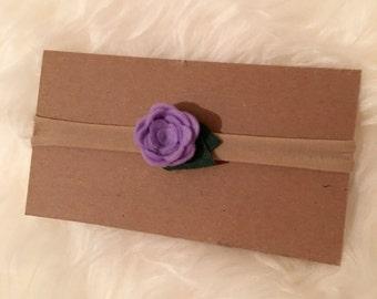 Lilac Felt Rose Nylon Headband