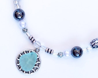 Turquoise seaglass necklace «Ray of Sun»