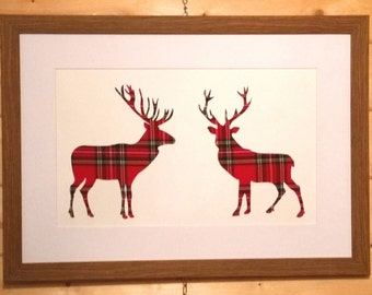 "Scottish Art ""Face Off"" Stag Picture with Red Tartan"