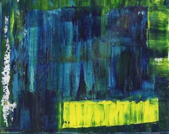 Original Oil Painting, Abstract Art, Yellow Streak