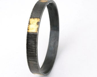 Patterns Bangle - steel and gold bangle, one of a kind, industrial