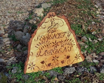 Personalized Pyrography wood burned tree slice garden sign Serenity Gardens