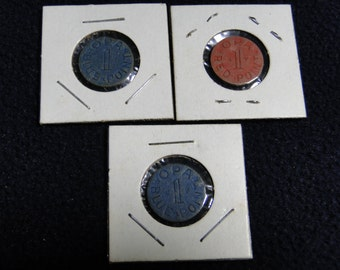 US WW II Tokens Opa  Ration Point Tokens - 1 Red & 2 Blue - 1942 Thru 1945 Great Find!!
