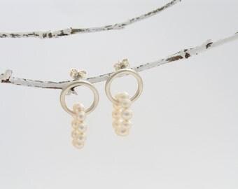 Hoop earrings with pearls, Silver earrings, pearl earrings, Stud Earrings with pearls, SWZ beads, small hoop earrings, elegant earrings, festive earrings